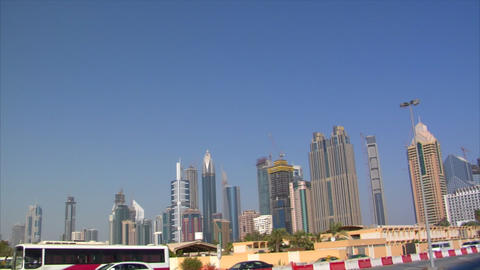 dubai skyline traffic pan Stock Video Footage