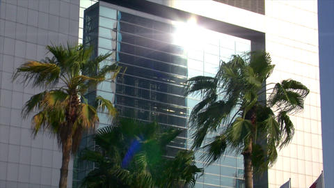 reflection on business window Stock Video Footage