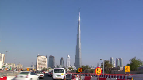 traffic in front of burj Dubai Stock Video Footage
