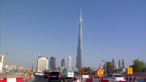 traffic in front of burj Dubai Stock Video Footage