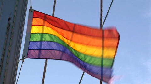 Gay rainbow Flag on sailing boat Stock Video Footage