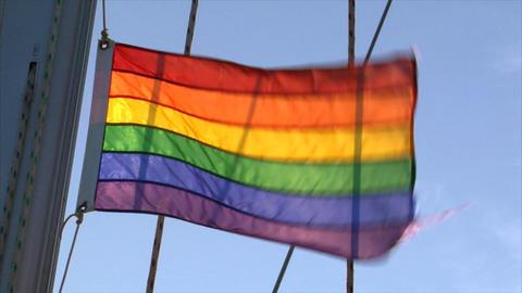 Gay rainbow Flag on sailing boat Stock Video Footage