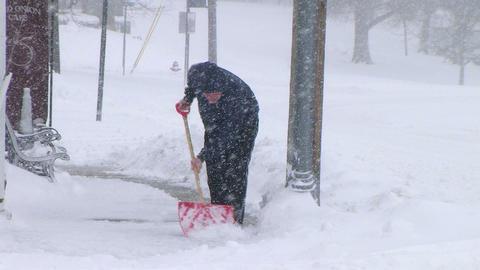Man Shoveling Snow 02 Stock Video Footage