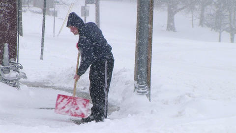 Man Shoveling Snow 02 Footage