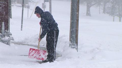 Man Shoveling Snow 02 Footage