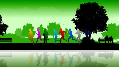 Marathon Runners. Silhouettes Of Running People stock footage