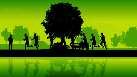 Marathon runners. Silhouettes of running people Stock Video Footage