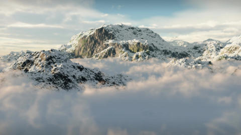 (1144) Snow Mountain Winter Wilderness Clouds Clim Stock Video Footage