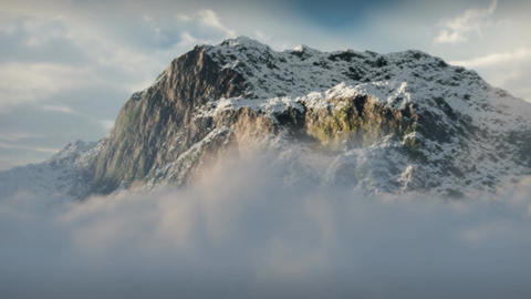 (1144) Snow Mountain Winter Wilderness Clouds Clim stock footage