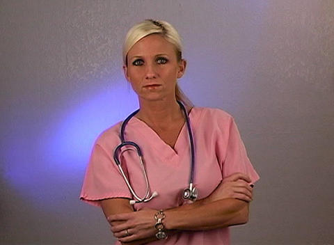 Beautiful Blonde Nurse with a Stethoscope (1) Footage