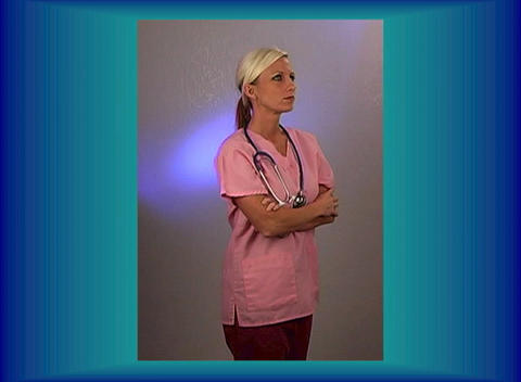Beautiful Blonde Nurse with a Stethoscope (3) Stock Video Footage