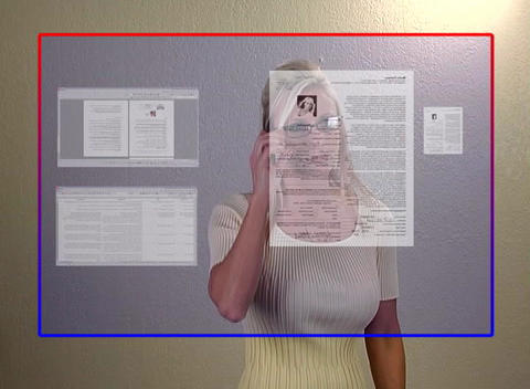 Beautiful Blonde Businesswoman Opens Virtual Docum Stock Video Footage