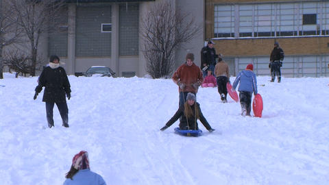 Teenagers Sled Riding Footage