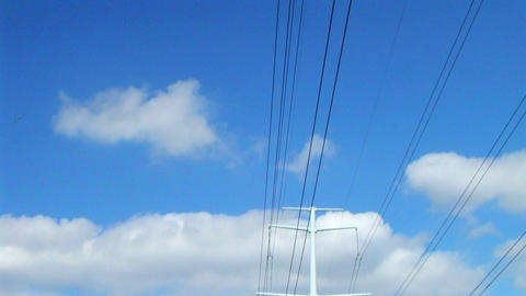 Power Lines In Country Stock Video Footage