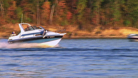 Speedboat on Lake Stock Video Footage