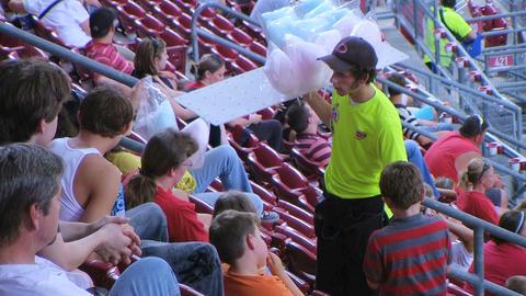 Cotton Candy Ballpark Vendor Stock Video Footage