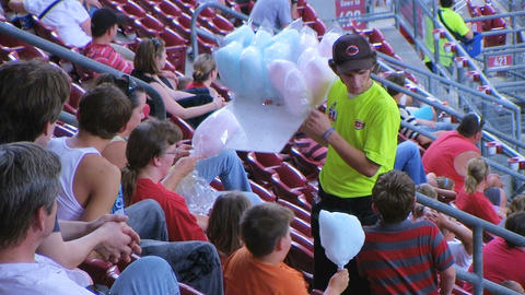 Cotton Candy Ballpark Vendor stock footage