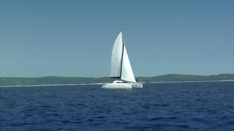 catamaran boat to boat Stock Video Footage