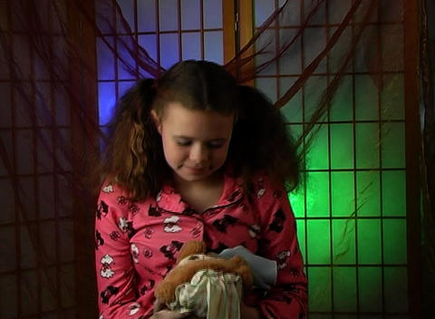 Beautiful Adolescent Girl Ready for Bed (4) Stock Video Footage