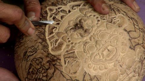 carve coconut hindu symbol super close Stock Video Footage