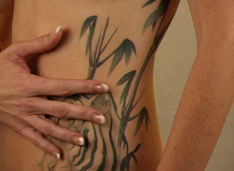 Impressive Tiger and Floral tattoos on a Woman's T Stock Video Footage