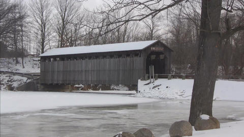 Covered bridge6 Stock Video Footage