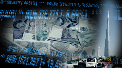 Dubai UAE Stock Finance Montage money1 Footage