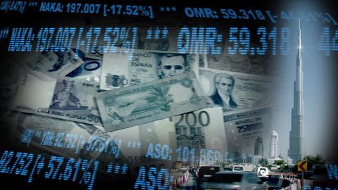 Dubai UAE Stock Finance Montage money1 Stock Video Footage
