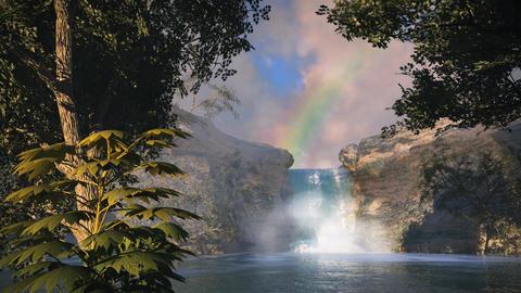 (1148) Waterfall Rainbow Tropical Oasis Jungle Sunset LOOP Stock Video Footage