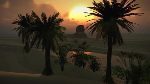 (1150) Egyptian Sphinx Desert Sandstorm Sand Dunes Oasis... Stock Video Footage