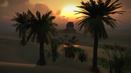 (1150) Egyptian Sphinx Desert Sandstorm Sand Dunes Oasis Sunset Clouds LOOP Footage