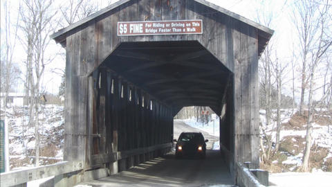 Covered bridge with Vehicle Stock Video Footage