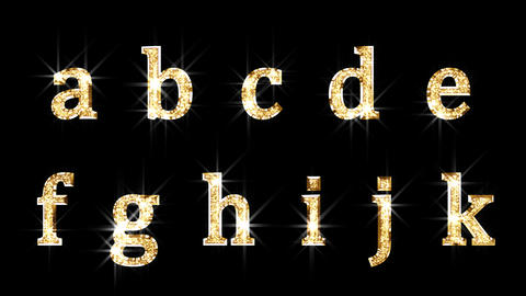 Alphabet Twinkle Gold A2 HD Stock Video Footage
