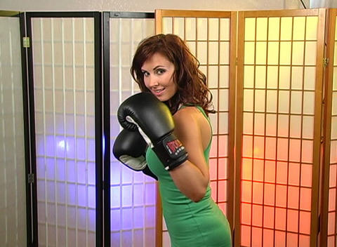 Beautiful Brunette with Boxing Gloves (1) Stock Video Footage