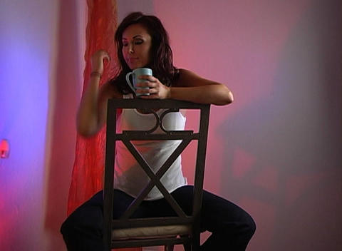 Beautiful Brunette Drinking Coffee (1a) Stock Video Footage