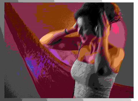 Beautiful Brunettee Dances with Headphones (1) Stock Video Footage