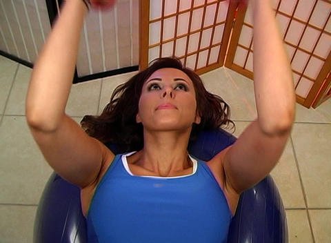 Beautiful Brunette Working Out with Hand Weights ( Stock Video Footage