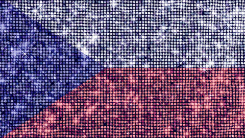 Spangle Flag Czech Rep Stock Video Footage