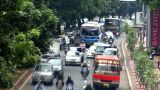 Heavy Asia City Traffic Close stock footage