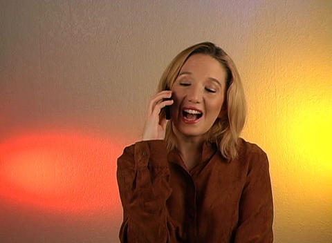 Beautiful Blonde Talking on a Cell Phone (2) Footage
