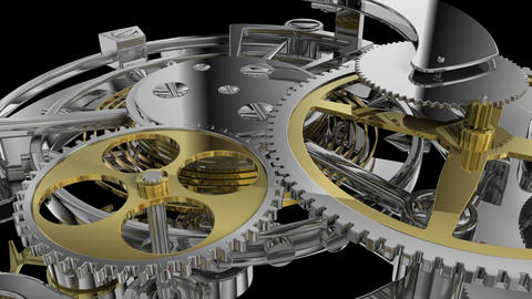 Clockwork mechanism close up Animation