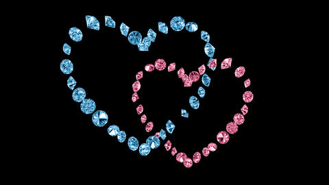 Heart shapes from Diamond rotation loop Stock Video Footage