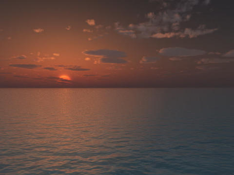 Sunrise with clouds fly over water Animation