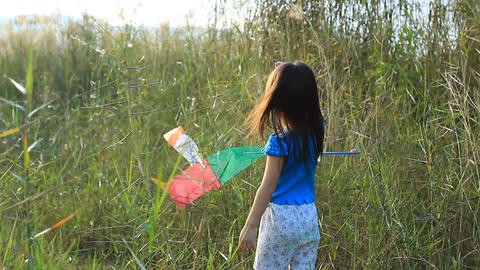 Girl happy with kite Footage