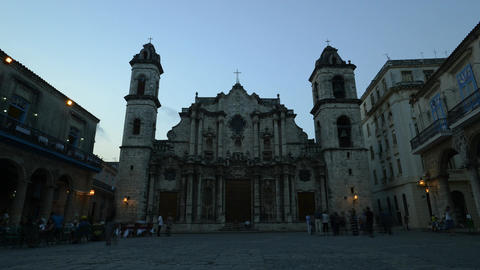 Time Lapse Cathedral in Havana, Cuba Footage