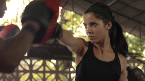 Girl Training With Boxing And Self Defense stock footage
