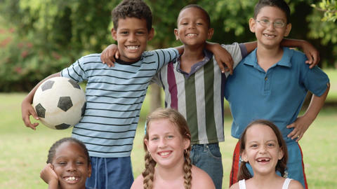 Multiethnic Group of Children with Soccer Ball Footage