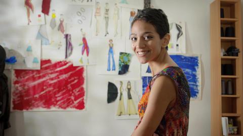 Portrait of Hispanic Woman Working As Fashion Designer Footage