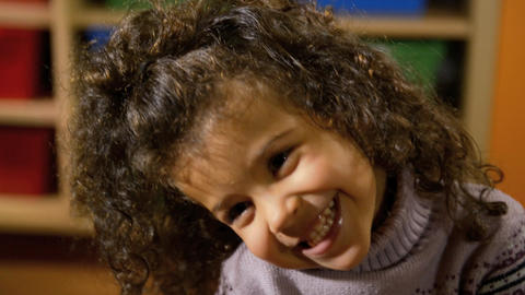 Little Girl Doing Facial Expressions at Camera Footage