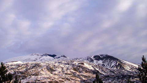 Etna under the snow. Italy, Sicily. Time Lapse. 12 Stock Video Footage